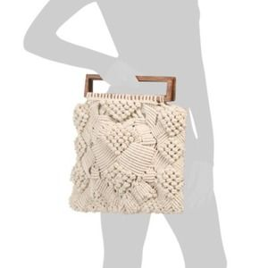 Cleobella Macrame Clutch with Wooden Handles Ivory